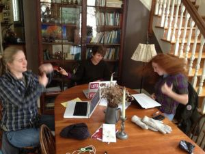 Rocking out at grow Food office hours with Laura and Lilly